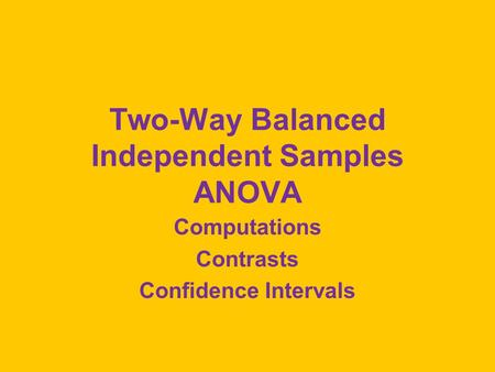 Two-Way Balanced Independent Samples ANOVA Computations Contrasts Confidence Intervals.