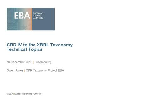 CRD IV to the XBRL Taxonomy Technical Topics