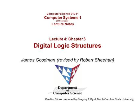 Computer Science 210 s1 Computer Systems 1 2014 Semester 1 Lecture Notes James Goodman (revised by Robert Sheehan) Credits: Slides prepared by Gregory.