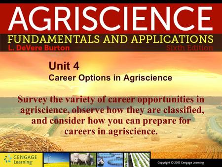 Unit 4 Career Options in Agriscience