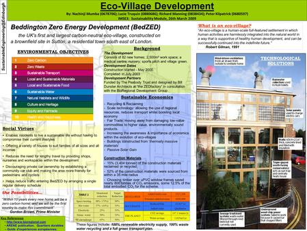 ENVIRONMENTAL OBJECTIVES Eco-Village Development By: Nachinji Mumba (0678706); Lucie Truquin (0880686); Richard Manning (0838434); Peter Kilpatrick (0680597)