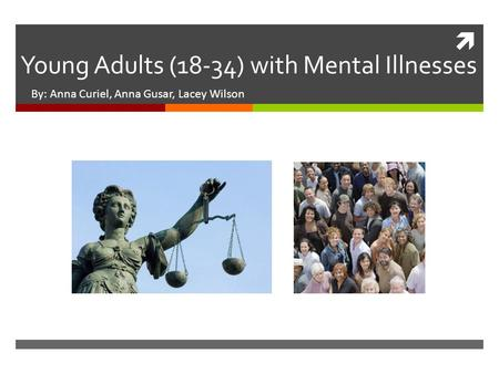  Young Adults (18-34) with Mental Illnesses By: Anna Curiel, Anna Gusar, Lacey Wilson.