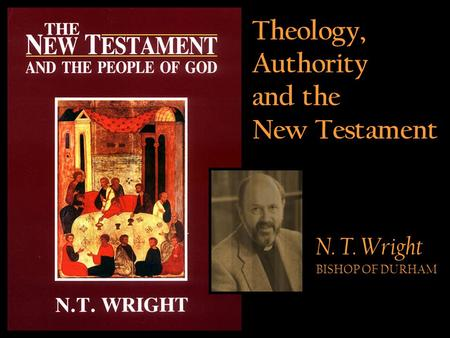 Theology, Authority and the New Testament N. T. Wright BISHOP OF DURHAM.