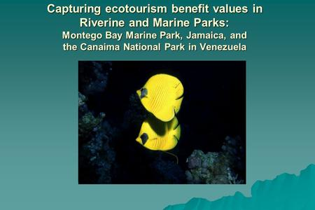 Capturing ecotourism benefit values in Riverine and Marine Parks: Montego Bay Marine Park, Jamaica, and the Canaima National Park in Venezuela.