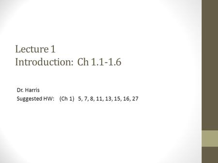 Lecture 1 Introduction: Ch