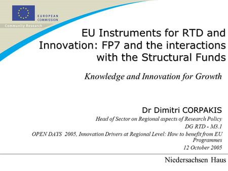 EU Instruments for RTD and Innovation: FP7 and the interactions with the Structural Funds Knowledge and Innovation for Growth Dr Dimitri CORPAKIS Head.