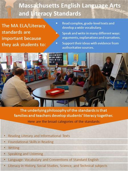 The MA ELA/Literacy standards are important because they ask students to:  Read complex, grade-level texts and develop a wide vocabulary.  Speak and.