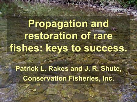 Propagation and restoration of rare fishes: keys to success. Patrick L. Rakes and J. R. Shute, Conservation Fisheries, Inc.