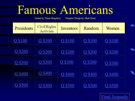 Famous Americans Content by: Tatem Kingsbury Template Design by: Mark Geary Presidents Civil Rights Activists InventorsRandomWomen Q $100 Q $200 Q $300.