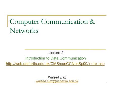 Computer Communication & Networks