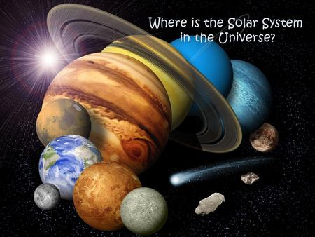Where is the Solar System in the Universe?. What is the solar system? The solar system consists of: – The sun (which is the name of our star) – Planets.