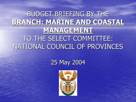 BUDGET BRIEFING BY THE BRANCH: MARINE AND COASTAL MANAGEMENT TO THE SELECT COMMITTEE: NATIONAL COUNCIL OF PROVINCES 25 May 2004.