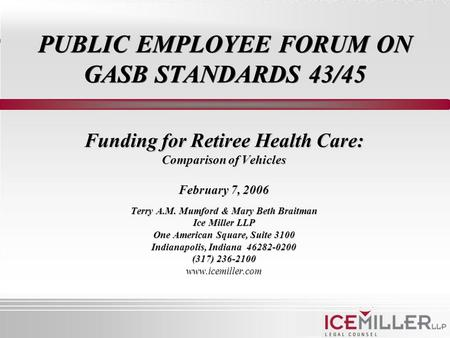 PUBLIC EMPLOYEE FORUM ON GASB STANDARDS 43/45 Funding for Retiree Health Care: Comparison of Vehicles February 7, 2006 Terry A.M. Mumford & Mary Beth Braitman.