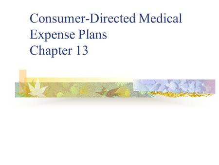 Consumer-Directed Medical Expense Plans Chapter 13.