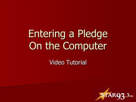 Entering a Pledge On the Computer Video Tutorial.