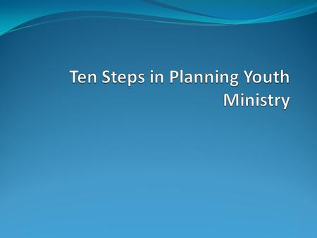 The Groundbreaking approach to developing youth ministry utilizes a team of interested adults and establishes a structure for assessing the needs of young.
