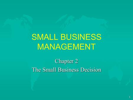 1 SMALL BUSINESS MANAGEMENT Chapter 2 The Small Business Decision.