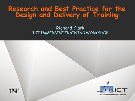 Research and Best Practice for the Design and Delivery of Training