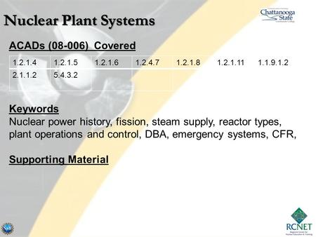 Nuclear Plant Systems ACADs (08-006) Covered Keywords