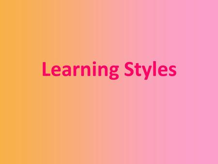 Learning Styles. Aims and Objectives of Today's Presentation Theory of Learning Styles; My Results; Case Studies; and Conclusion.