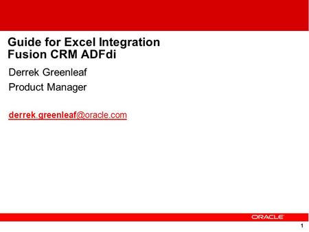 Guide for Excel Integration Fusion CRM ADFdi