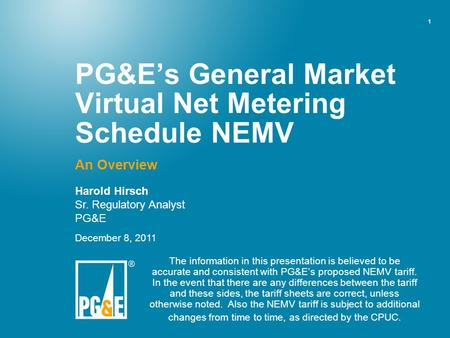PG&E's General Market Virtual Net Metering Schedule NEMV