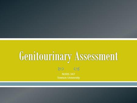Genitourinary Assessment