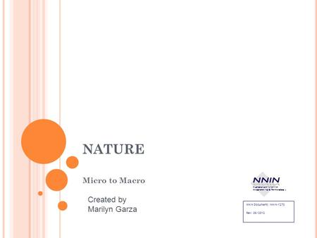 NATURE Micro to Macro NNIN Document: NNIN-1270 Rev: 08/2012 Created by Marilyn Garza.