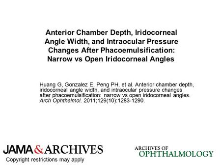 Anterior Chamber Depth, Iridocorneal Angle Width, and Intraocular Pressure Changes After Phacoemulsification: Narrow vs Open Iridocorneal Angles Huang.