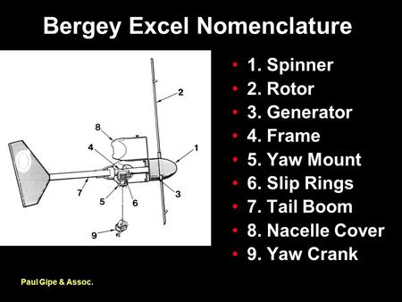 Bergey Excel Nomenclature Paul Gipe & Assoc. 1. Spinner 2. Rotor 3. Generator 4. Frame 5. Yaw Mount 6. Slip Rings 7. Tail Boom 8. Nacelle Cover 9. Yaw.
