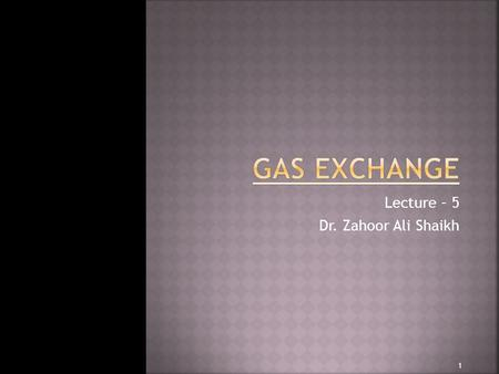 Lecture – 5 Dr. Zahoor Ali Shaikh 1.  Gas Exchange takes place in alveoli and then at tissue level.  Why we are breathing?  To provide a continuous.