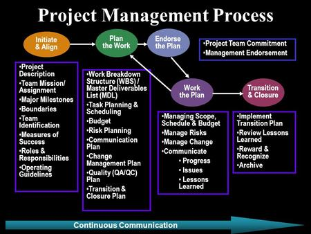 Project Management Process Project Description Team Mission/ Assignment Major Milestones Boundaries Team Identification Measures of Success Roles & Responsibilities.