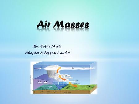 By: Sofia Mertz Chapter 6, Lesson 1 and 2. An air mass: is a large body of air with similar properties all through it. The most important properties are.