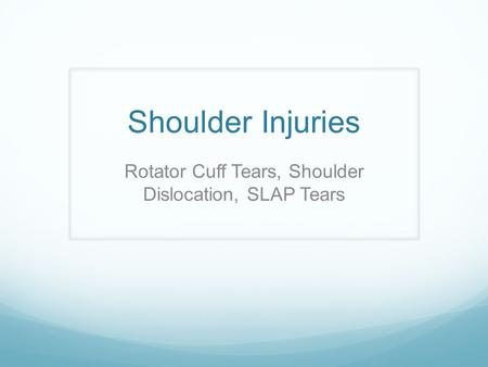 Rotator Cuff Tears, Shoulder Dislocation, SLAP Tears