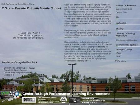R.D. and Euzelle P. Smith Middle School Architect's Statement Site Shading Environmental Systems Learning Technology Architecture Design Constraints High.