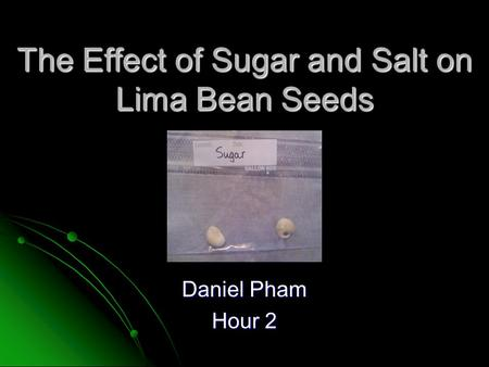 The Effect of Sugar and Salt on Lima Bean Seeds Daniel Pham Hour 2.