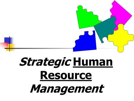 Strategic Human Resource Management. Overall Goal of Strategic Management for an Organization Deploy & allocate resources ==> competitive advantage.