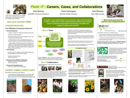 Join us in Summer 2008! Plant IT : Careers, Cases, and Collaborations Ethel Stanley BioQUEST Curriculum Consortium Claire Hemingway Botanical Society of.