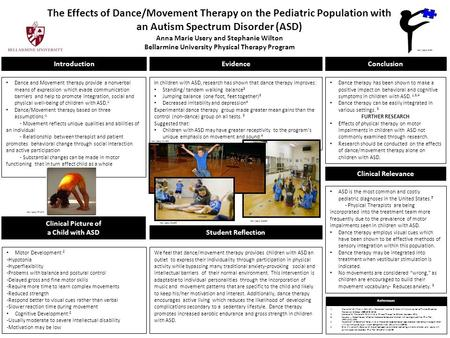The Effects of Dance/Movement Therapy on the Pediatric Population with an Autism Spectrum Disorder (ASD) Anna Marie Usery and Stephanie Wilton Bellarmine.