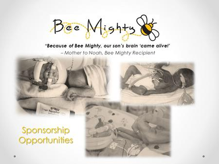 "SponsorshipOpportunities ""Because of Bee Mighty, our son's brain 'came alive!' – Mother to Noah, Bee Mighty Recipient."