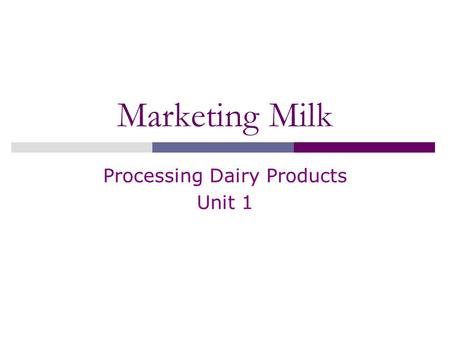Marketing Milk Processing Dairy Products Unit 1. Introduction  Dairy farmers produce milk to sell it for a profit  Management helps reduce costs of.