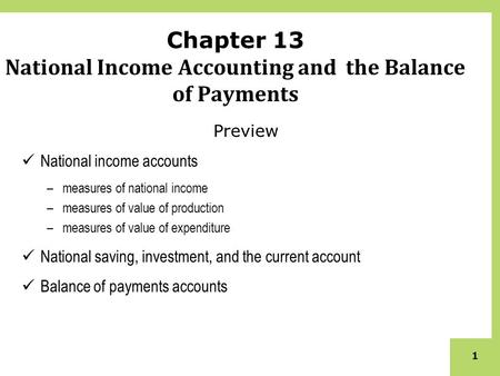 1 Chapter 13 National Income Accounting and the Balance of Payments Preview National income accounts –measures of national income –measures of value of.