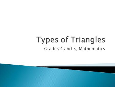 Grades 4 and 5, Mathematics.  We will learn how to identify, describe, and compare triangles: isosceles, right, equilateral, scalene, obtuse, and acute.