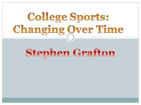 College Sports College sports have changed much over time Equipment and rules have certainly changed, but college sports have also grown to impact other.