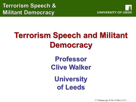 Terrorism Speech and Militant Democracy