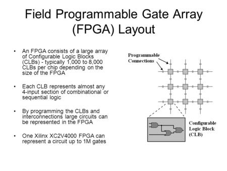 Field Programmable Gate Array (FPGA) Layout An FPGA consists of a large array of Configurable Logic Blocks (CLBs) - typically 1,000 to 8,000 CLBs per chip.