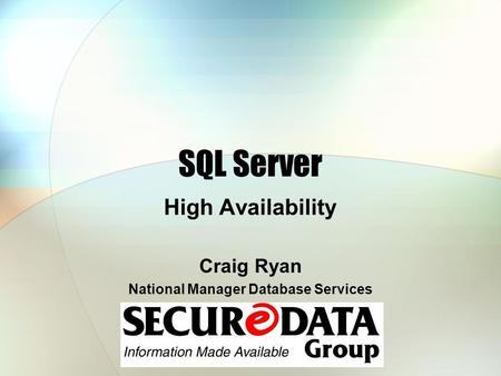 National Manager Database Services