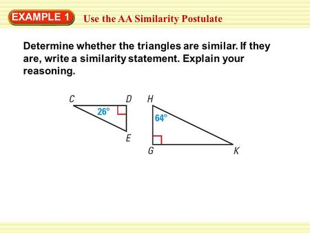 write a similarity statement for the two triangles