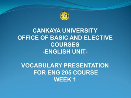 OFFICE OF BASIC AND ELECTIVE COURSES VOCABULARY PRESENTATION