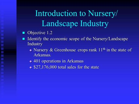 Introduction to Nursery/ Landscape Industry